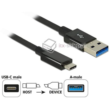 Kabel Premium SuperSpeed 10 Gbps USB-A 3.1 - USB Typ-C M-M 1m Delock 83983